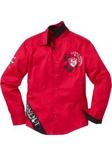 Рубашка с длинным рукавом Slim Fit (красный) Bonprix