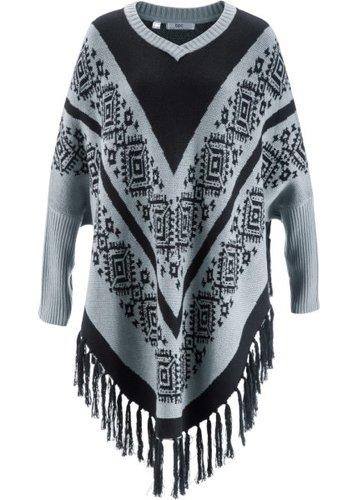 Пуловер в стиле пончо (серебристо-серый с узором)