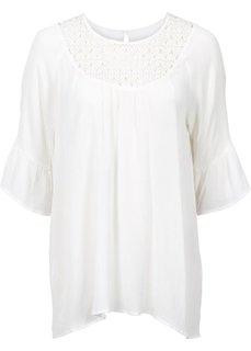 Блузка с кружевной вставкой (цвет белой шерсти) Bonprix