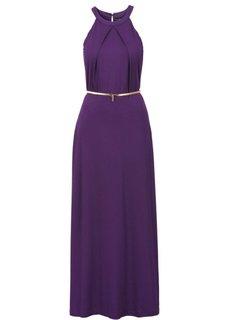 Макси-платье с ремнем в талии (темно-лиловый) Bonprix