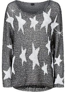 Вязаный пуловер (черный/белый) Bonprix