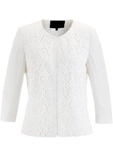 Короткий жакет с кружевом ПРЕМИУМ (цвет белой шерсти) Bonprix
