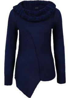 Асимметричный вязаный пуловер (синий) Bonprix
