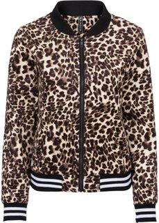 Бомбер с леопардовым принтом (черный леопардовый/коричневый) Bonprix
