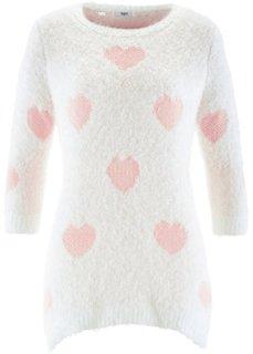 Пуловер с удлиненной спинкой и рукавами 3/4 (цвет белой шерсти/нежно-розовый) Bonprix