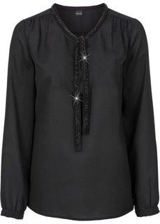 Блузка с аппликацией из искусственного жемчуга (черный) Bonprix