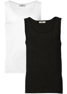 Майка стандартного прямого кроя regular fit (2 шт.) (черный + белый) Bonprix