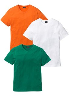 Футболка Regular Fit с V-образной горловиной (3 изделия в упаковке) (оранжевый + зеленый + белый) Bonprix