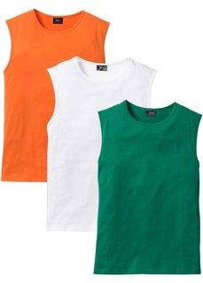 Футболка без рукавов стандартного прямого кроя regular fit (3 шт.) (оранжевый + зеленый + белый) Bonprix