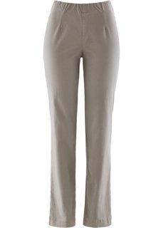Прямые брюки стретч без застежки, низкий рост (K) (серо-коричневый НОВИНКА) Bonprix
