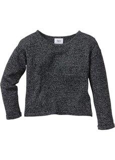Вязаный пуловер свободного покроя (антрацитовый меланж/меланж белой шерсти) Bonprix