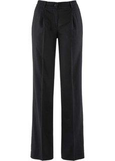 Широкие льняные брюки (черный) Bonprix