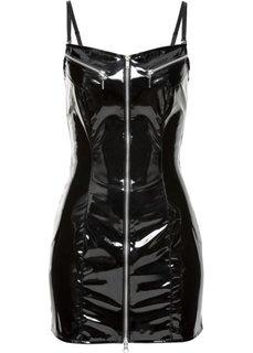 Лаковое мини-платье (черный) Bonprix