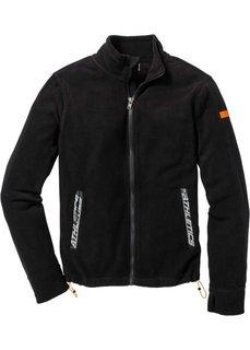 Куртка Slim Fit из микрофлиса (черный) Bonprix