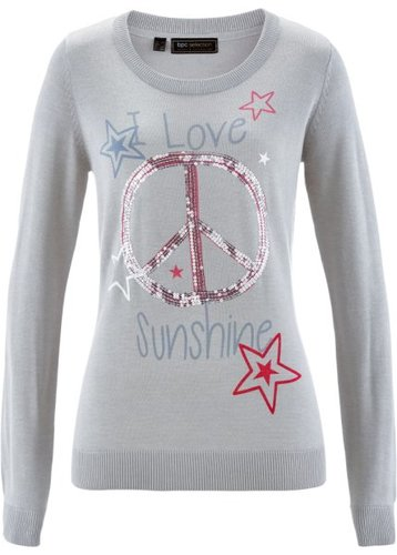 Пуловер с пайетками (светло-серый меланж/разноцветный с рисунком)