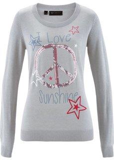 Пуловер с пайетками (светло-серый меланж/разноцветный с рисунком) Bonprix
