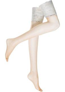 Чулки с подвязками (цвет белой шерсти/телесный) Bonprix