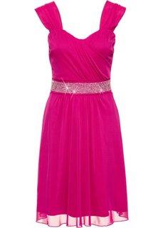 Коктейльное платье из сеточки и трикотажа (цвет фуксии) Bonprix
