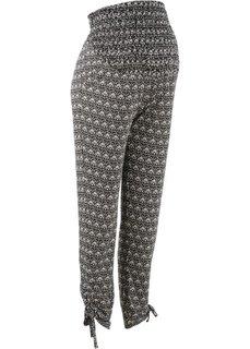Мода для беременных: брюки-стретч (черный/кремовый с рисунком) Bonprix