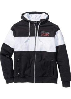 Трикотажная куртка Regular Fit с капюшоном (черный/белый) Bonprix