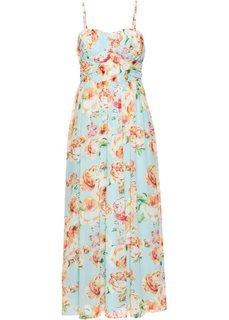 Длинное шифоновое платье (полярно-мятный в цветочек) Bonprix