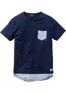 Длинная футболка Slim Fit (темно-синий) Bonprix
