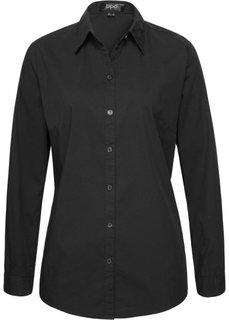 Блузка-рубашка с длинными рукавами (черный) Bonprix