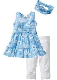 Платье + лента для волос + леггинсы (3 изделия) (нежно-голубой/белый) Bonprix