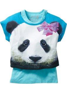 Короткая футболка + тэнк топ (2 изделия в упаковке) (нежно-бирюзовый с рисунком панды/аква) Bonprix