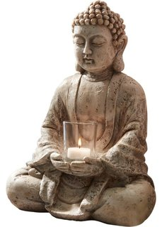 Подсвечник-статуэтка Будда (серый) Bonprix