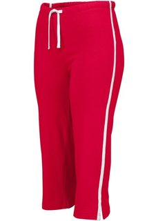 Спортивные брюки капри с эффектом стретч (темно-красный) Bonprix