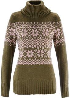 Пуловер в норвежском стиле (зеленый хаки с узором) Bonprix