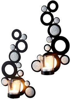 Настенный подсвечник Камень (2 шт.) (черный/серый) Bonprix