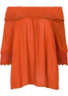 Блузка в стиле Кармен с кружевной вставкой (ржаво-красный) Bonprix