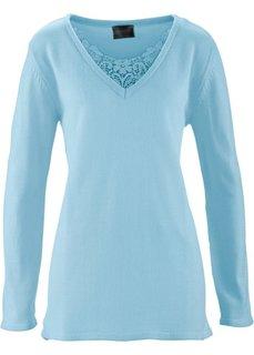 Удлиненный пуловер с кружевом (синий лед) Bonprix