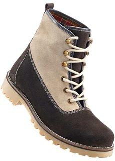 Замшевые ботинки (темно-коричневый/бежевый) Bonprix