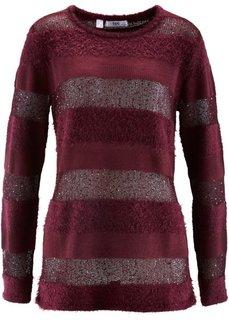 Пуловер с пайетками (кленово-красный в полоску) Bonprix