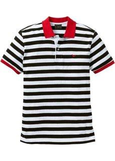 Полосатая футболка-поло Regular Fit (черный/белый в полоску) Bonprix