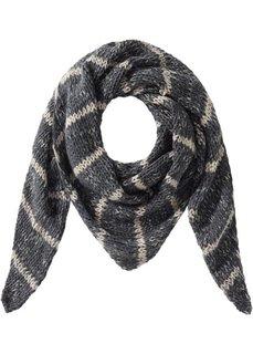 Вязаный треугольный платок (черный/серый/белый) Bonprix