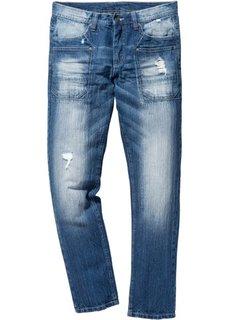 Джинсы Regular Fit Tapered, длина (в дюймах) 32 (синий «потертый») Bonprix