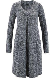 Трикотажное платье с длинным рукавом (черный меланж) Bonprix