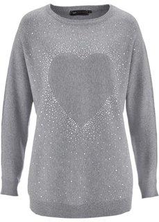 Удлиненный пуловер с сердцем из стразов (серый меланж) Bonprix