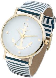 Часы на полосатом браслете (синий/белый) Bonprix