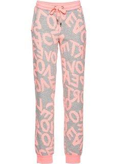 Трикотажные брюки (светло-серый меланж/розовый неон) Bonprix