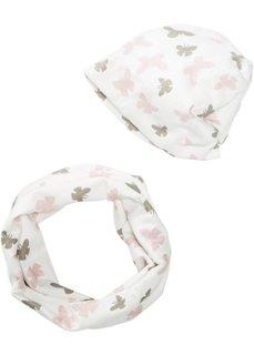 Для детей: шарф-снуд + шапка с бабочками (2 изд.) (розовый/белый с рисунком бабочек) Bonprix