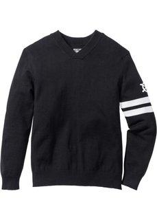 Пуловер Regular Fit с V-образным вырезом (черный) Bonprix