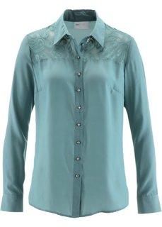 Блузка с кружевной вставкой (минерально-синий) Bonprix