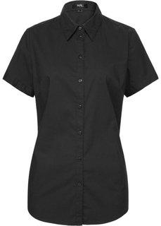 Блуза-рубашка с короткими рукавами (черный) Bonprix