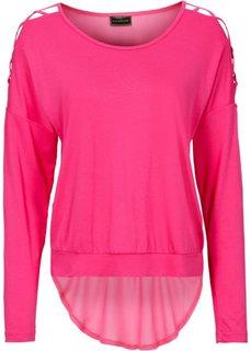Пуловер с вырезами на рукавах (горячий ярко-розовый) Bonprix