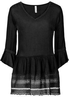 Блузка с вязаным кружевом (черный) Bonprix